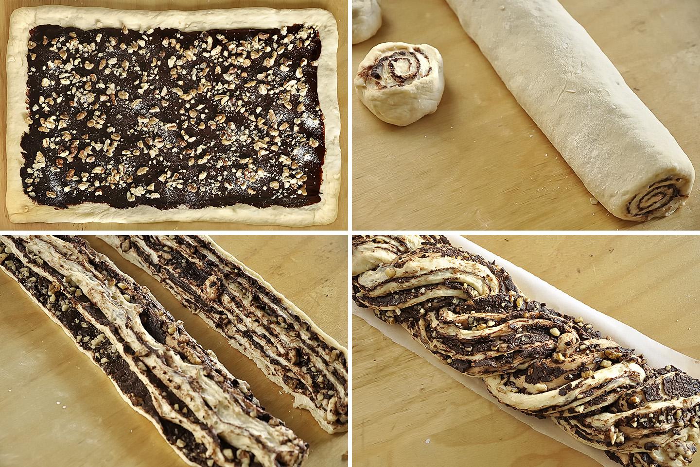 Σιροπιασμένο τσουρέκι με σοκολάτα και καρύδια / Chocolate krantz cake