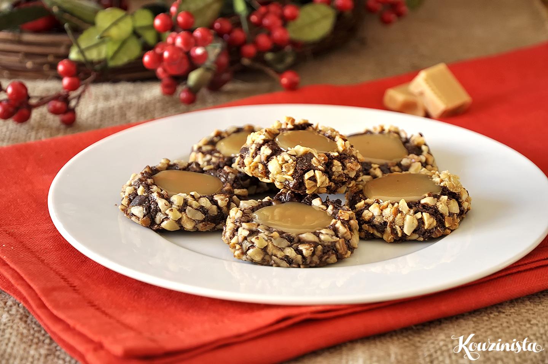 Σοκολατένια cookies με καραμέλες γάλακτος / Chocolate turtle cookies