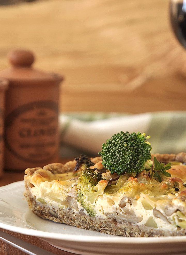 Τάρτα με μπρόκολο και μανιτάρια