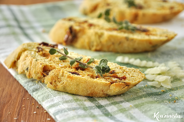 Παξιμαδάκια με λιαστή ντομάτα / Sun-dried tomato & parmesan biscotti