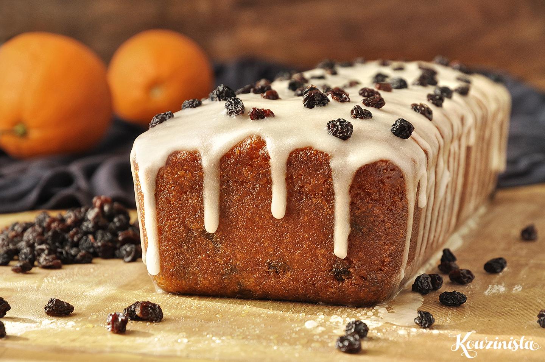 Κέικ πορτοκαλιού με σιρόπι και σταφίδες / Orange yogurt loaf with raisins