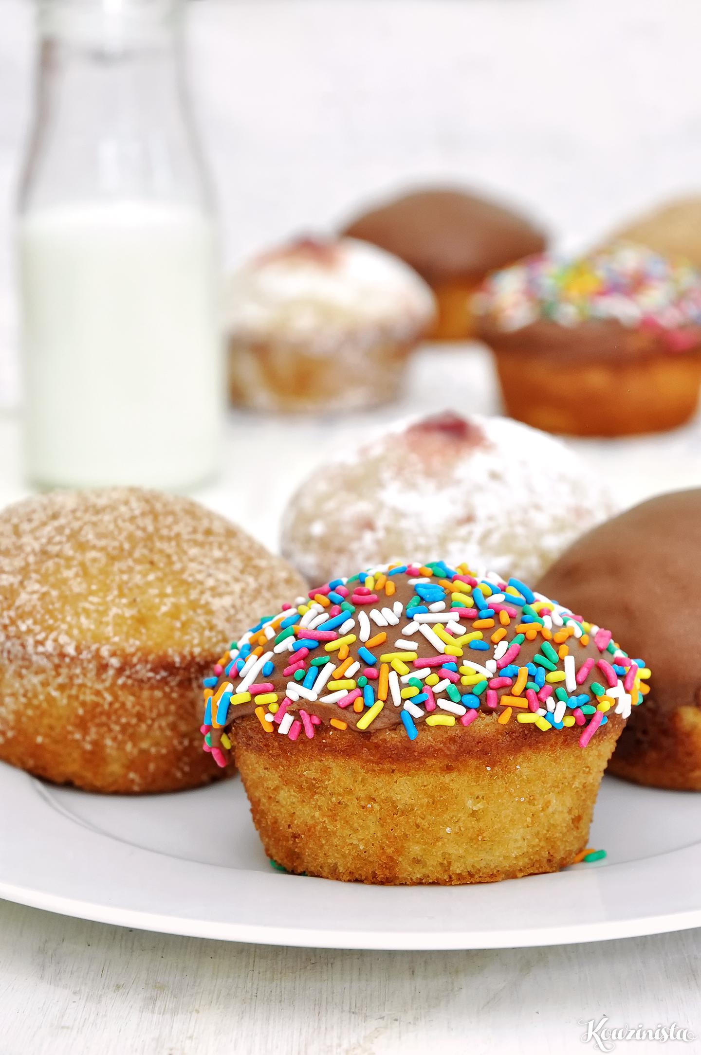 Ντόνατ-μάφινς ή ντάφινς με γλάσο πραλίνας φουντουκιού / Nutella glazed doughnut muffins