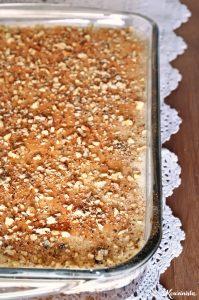 Kαρυδόπιτα με κρέμα ή πουτίγκα ή σπάτουλα / Walnut syrup cake with pastry cream