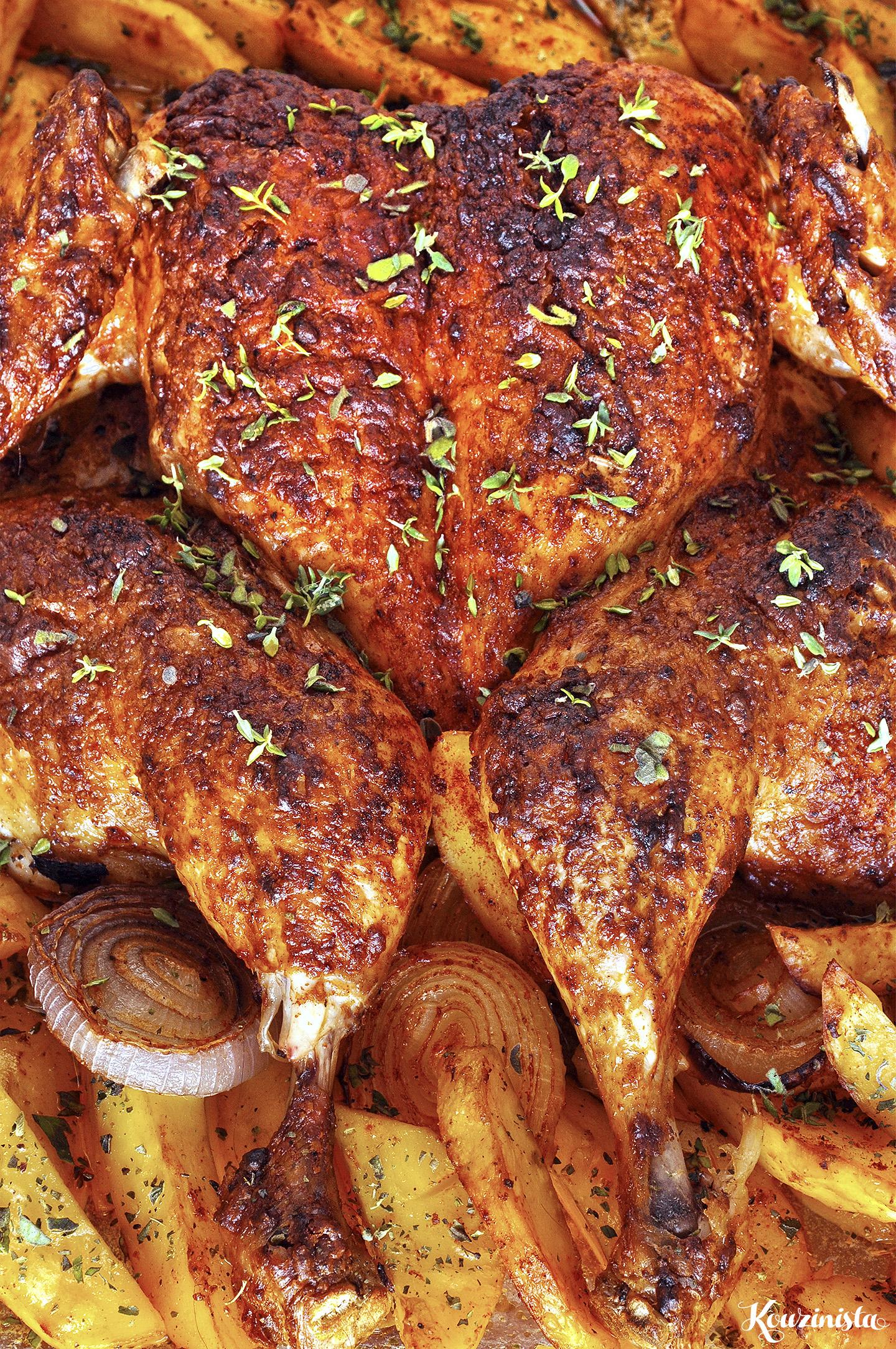 """Ζουμερό, ξεροψημένο ψητό κοτόπουλο """"πεταλούδα"""" / Juicy and crispy butterflied roasted chicken"""