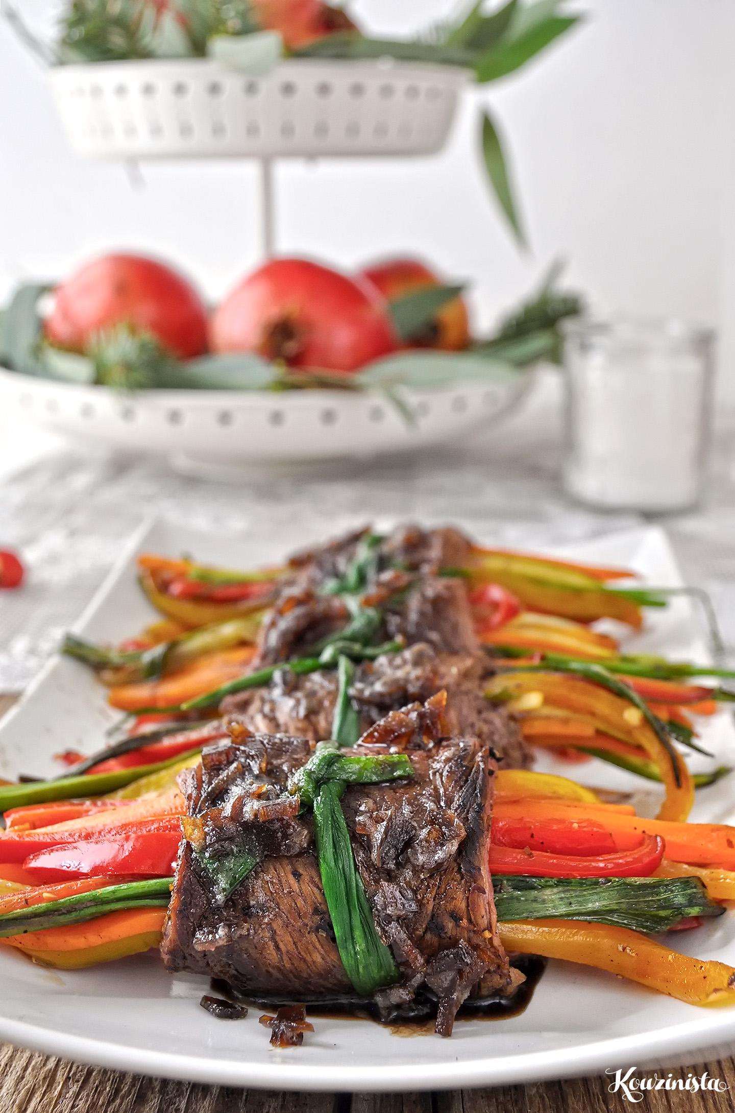 Μοσχαρίσια ρολάκια με λαχανικά & γλάσο βαλσάμικου / Balsamic glazed steak rolls