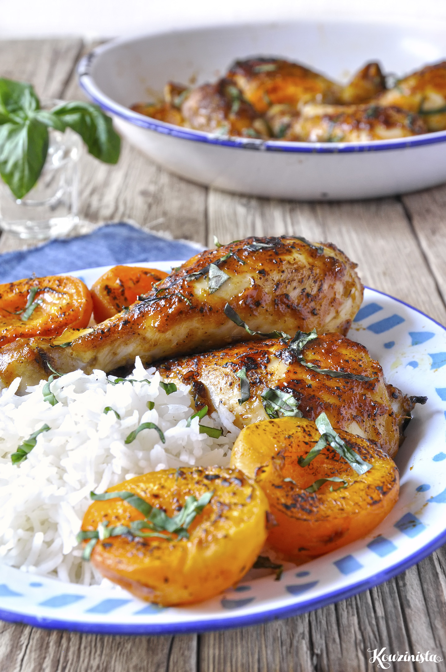 Γλασαρισμένα μπουτάκια κοτόπουλου στο φούρνο με φρέσκα βερίκοκα / Apricot mustard oven roasted chicken drumstics